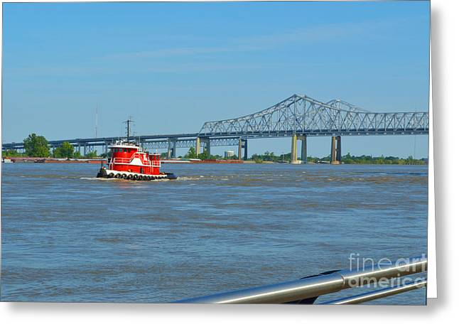 Barges Greeting Cards Greeting Cards - Working on the River Greeting Card by Alys Caviness-Gober
