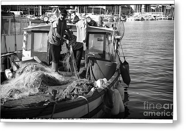 Artist Working Photo Photographs Greeting Cards - Working the Nets Greeting Card by John Rizzuto