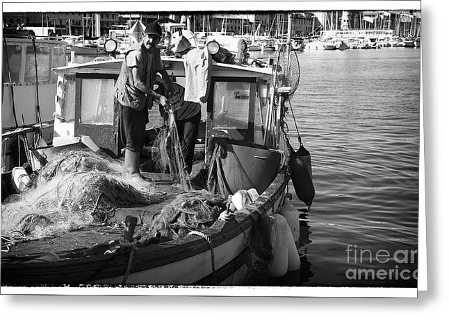 ist Working Photo Photographs Greeting Cards - Working the Nets Greeting Card by John Rizzuto