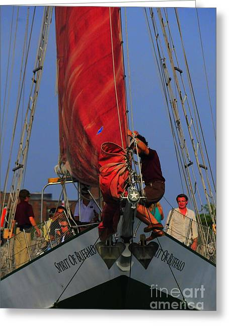 Artist Working Photo Photographs Greeting Cards - Working The Sails Greeting Card by Kathleen Struckle