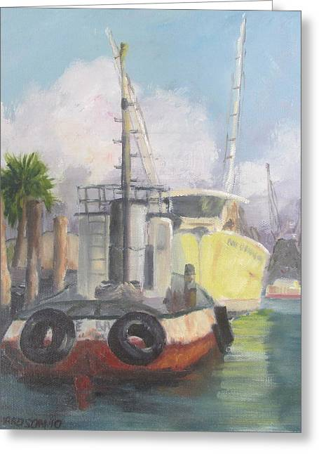 Apalachicola Seafood Greeting Cards - Working Waterfront Greeting Card by Susan Richardson