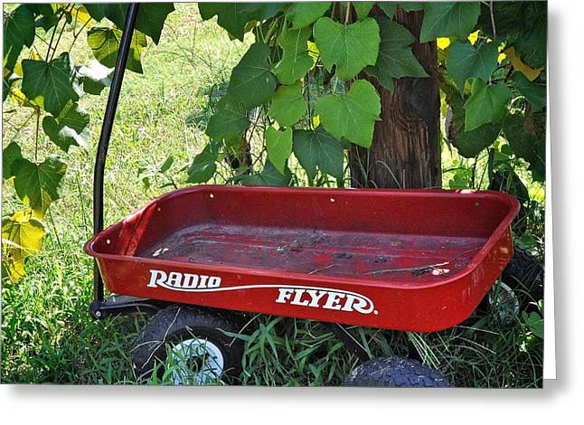 Radio Flyer Wagon Greeting Cards - Working Wheels Greeting Card by Nava  Thompson