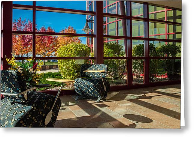 Indiana Autumn Greeting Cards - Workplace with a View Greeting Card by Gene Sherrill