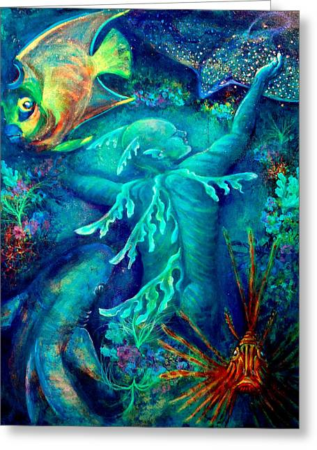Scuba Diving Mixed Media Greeting Cards - World Greeting Card by Ashley Kujan