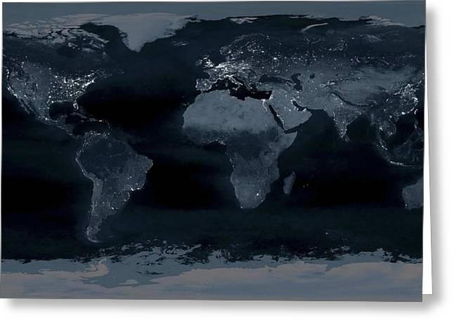 Light Pollution Greeting Cards - World at night Greeting Card by Science Photo Library