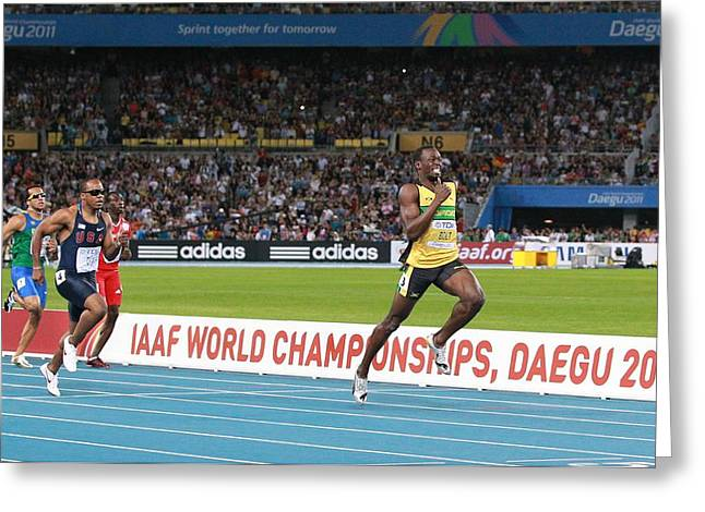 Sprinter Greeting Cards - World Athletics Championships, Korea Greeting Card by Science Photo Library