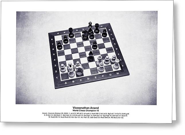 2008 World Champions Greeting Cards - World Chess Champions - Viswanathan Anand - 2 Greeting Card by Alexander Senin