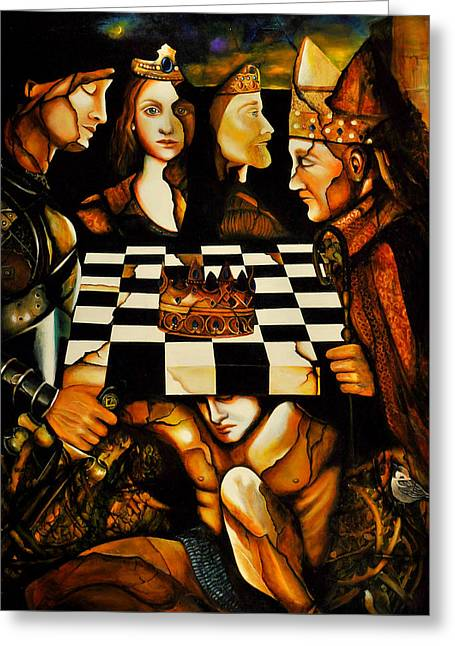 Knights Castle Paintings Greeting Cards - World Chess  Nwo Greeting Card by Dalgis Edelson