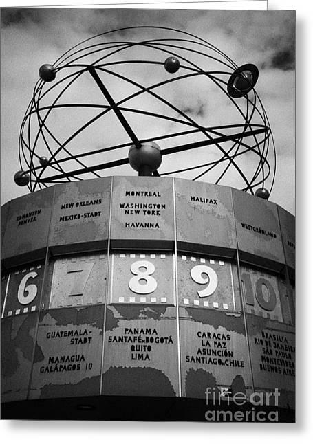 Alexanderplatz Greeting Cards - world clock Weltzeituhr at Alexanderplatz showing 8 New York Washington east Berlin Germany Greeting Card by Joe Fox