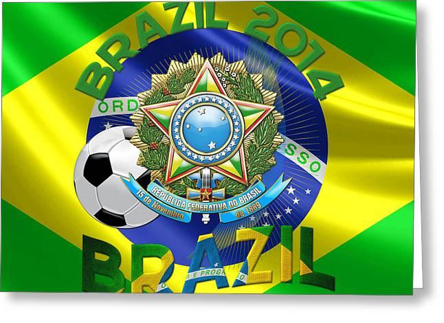 World Cup 2014 - Team Brazil Greeting Card by Serge Averbukh