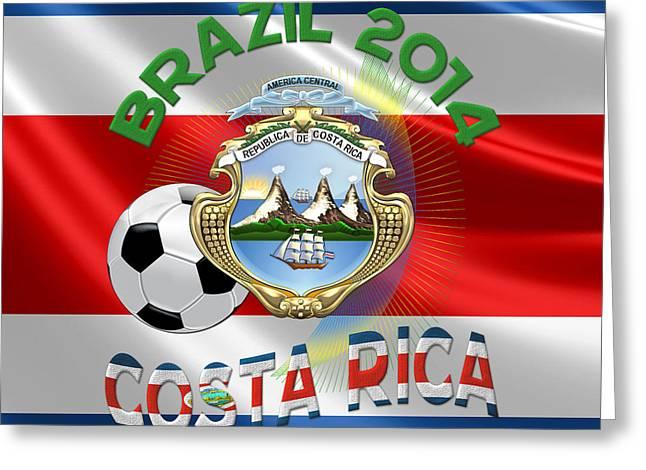 Costa Digital Greeting Cards - World Cup 2014 - Team Costa Rica Greeting Card by Serge Averbukh