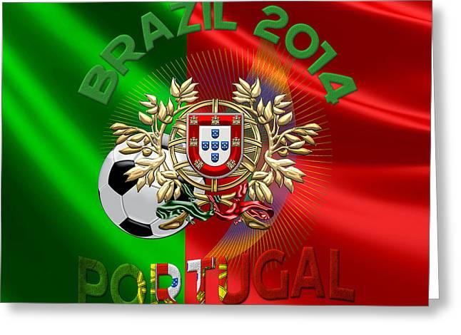 World Cup 2014 - Team Portugal Greeting Card by Serge Averbukh