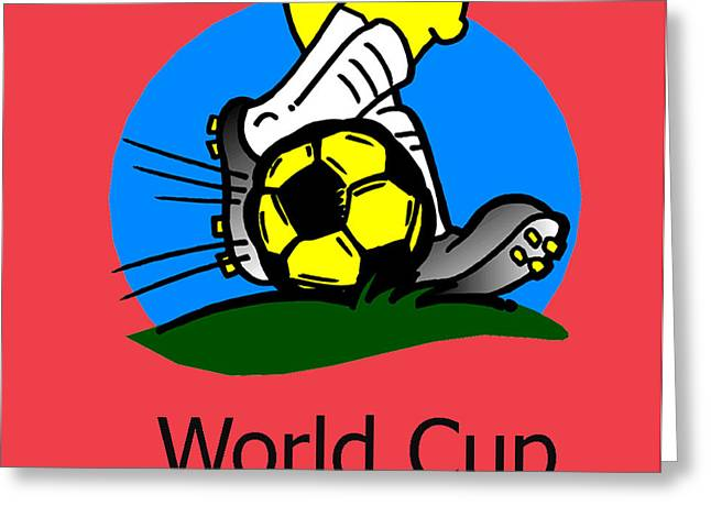 Shin Guard Greeting Cards - World Cup Greeting Card by Edwina Hughes