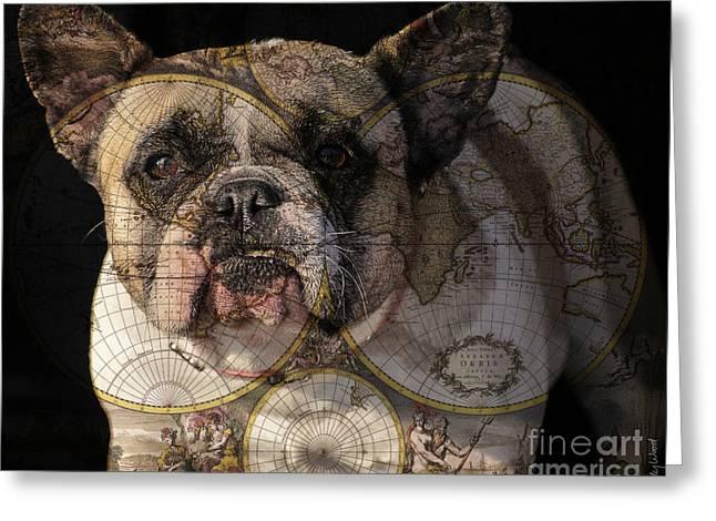 Bulldog Greeting Cards - World Domination Greeting Card by Judy Wood