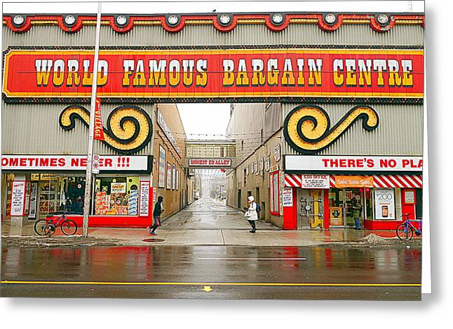 Grocery Store Greeting Cards - World Famous Bargain Centre Greeting Card by Valentino Visentini