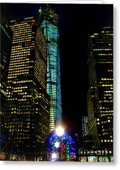 Winter Night Greeting Cards - World Financial Center Greeting Card by Mariola Bitner