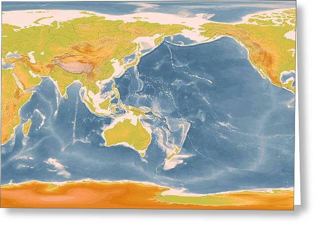 World Geographic Map Enhanced Greeting Card by L Brown