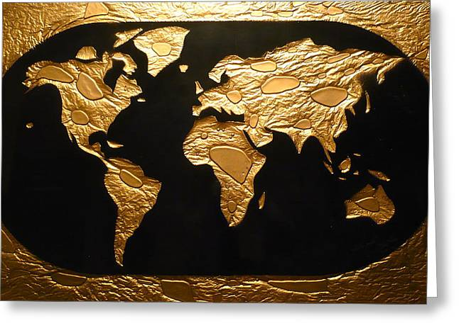 Table Glass Art Greeting Cards - World in Gold - World Map Greeting Card by Rick Silas