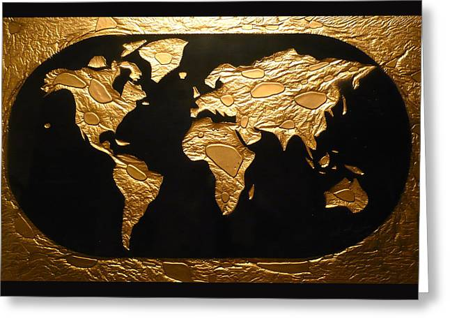 Maps Glass Art Greeting Cards - World in Gold - World Map Greeting Card by Rick Silas