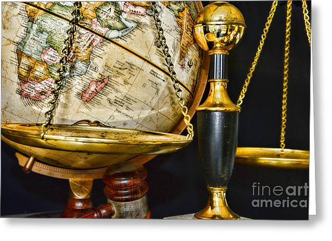 Barrister Greeting Cards - World Justice Greeting Card by Paul Ward