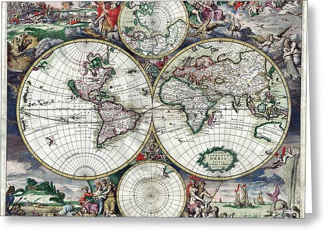 Vintage Map Paintings Greeting Cards - World Map - 1689 Greeting Card by Pablo Romero