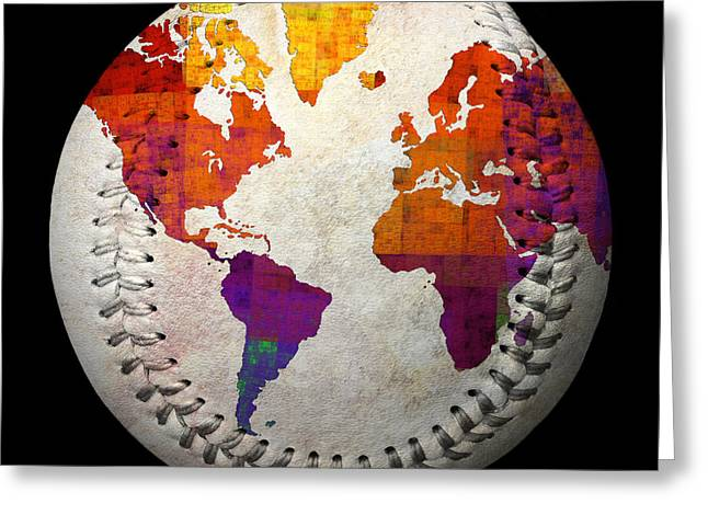 Baseball Art Greeting Cards - World Map - Rainbow Bliss Baseball Square Greeting Card by Andee Design