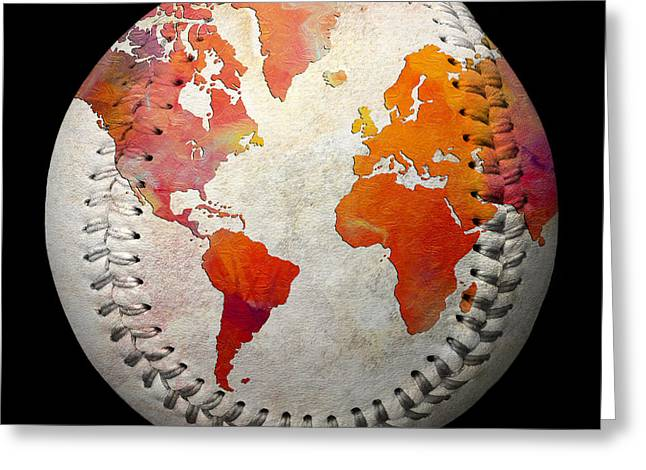 Baseball Art Digital Art Greeting Cards - World Map - Rainbow Passion Baseball Square Greeting Card by Andee Design