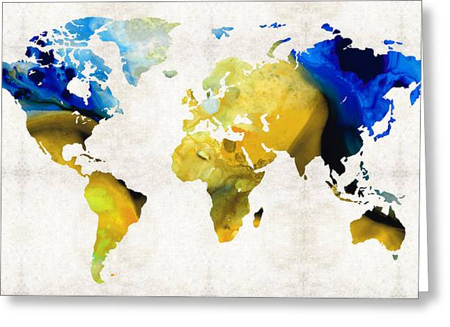 Decorating Mixed Media Greeting Cards - World Map 16 - Yellow And Blue Art By Sharon Cummings Greeting Card by Sharon Cummings