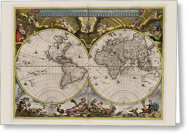 Europe Mixed Media Greeting Cards - World Map 1664 AD with small matching border Greeting Card by L Brown