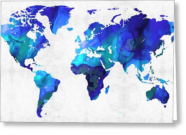 World Maps Mixed Media Greeting Cards - World Map 17 - Blue Art By Sharon Cummings Greeting Card by Sharon Cummings