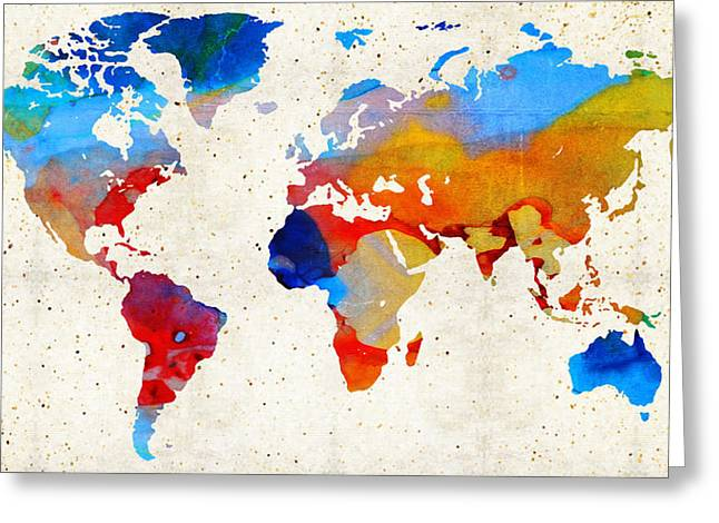 Decorating Mixed Media Greeting Cards - World Map 18 - Colorful Art By Sharon Cummings Greeting Card by Sharon Cummings
