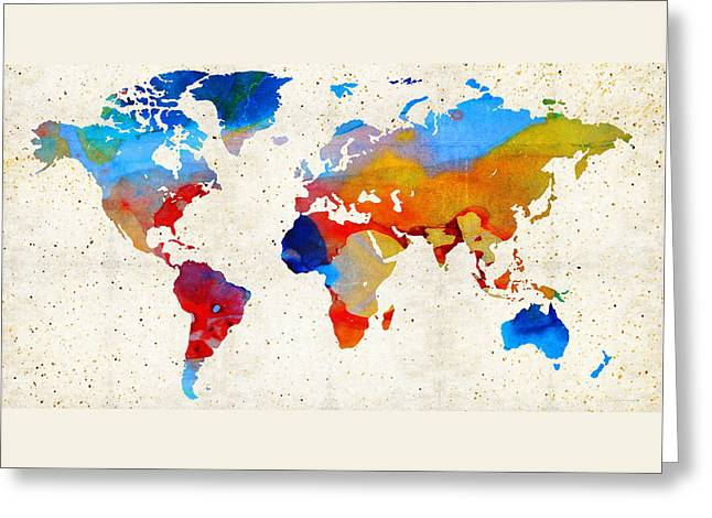 Purchase Greeting Cards - World Map 18 - Colorful Art By Sharon Cummings Greeting Card by Sharon Cummings