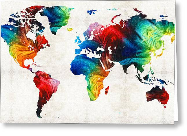 World Map Print Paintings Greeting Cards - World Map 19 - Colorful Art By Sharon Cummings Greeting Card by Sharon Cummings
