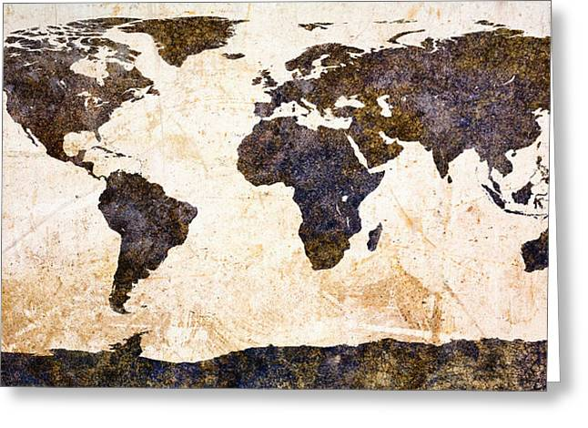 Rusted Greeting Card featuring the painting World Map Abstract by Bob Orsillo