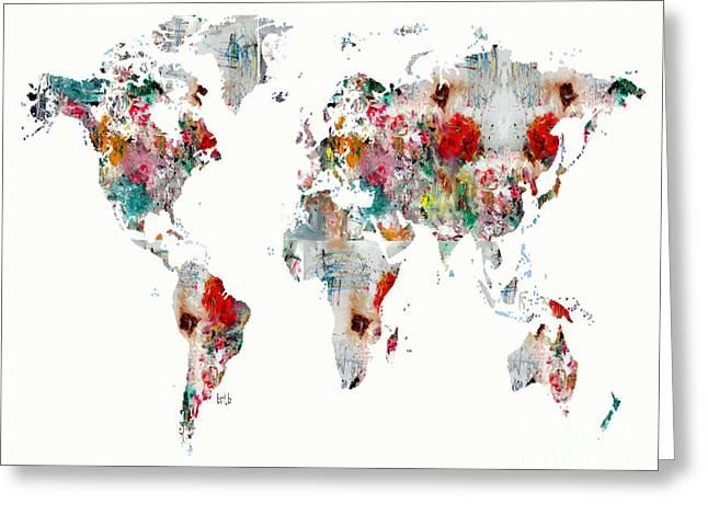 World Map Abstract  Greeting Card by Bri B