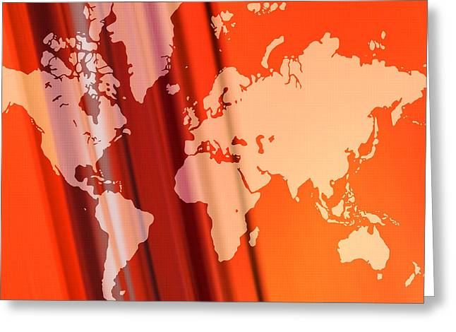 World Map Abstract Greeting Card by Modern Art Prints