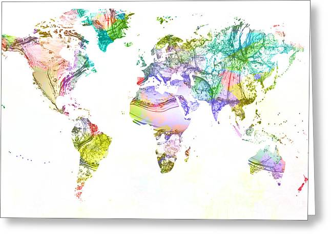 Clean Water Mixed Media Greeting Cards - World map acrylic paint splash   Greeting Card by Eti Reid