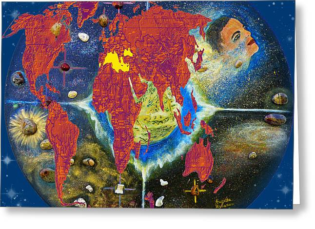 Planet Map Greeting Cards - World Map and Barack Obama Stars Greeting Card by Augusta Stylianou