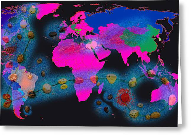 Constellations Greeting Cards - World Map and Pisces Constellation Greeting Card by Augusta Stylianou
