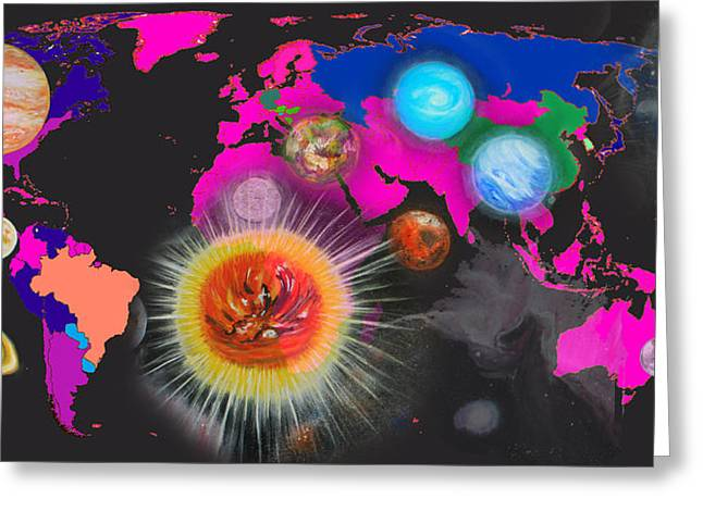 Planet Map Digital Art Greeting Cards - World Map and Planets Greeting Card by Augusta Stylianou