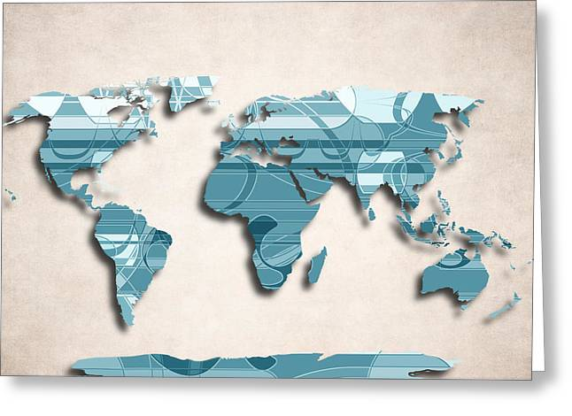 Planet Map Greeting Cards - World Map Art - Decorative Design Greeting Card by World Art Prints And Designs