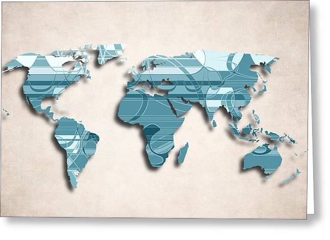 Planet Map Greeting Cards - World Map Art II  - Decorative Design Greeting Card by World Art Prints And Designs