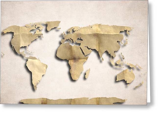 Planet Map Greeting Cards - World Map Art - Old Paper Greeting Card by World Art Prints And Designs