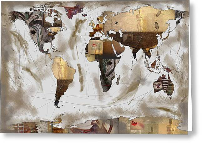 World Map Artefact Greeting Card by Andre Pillay