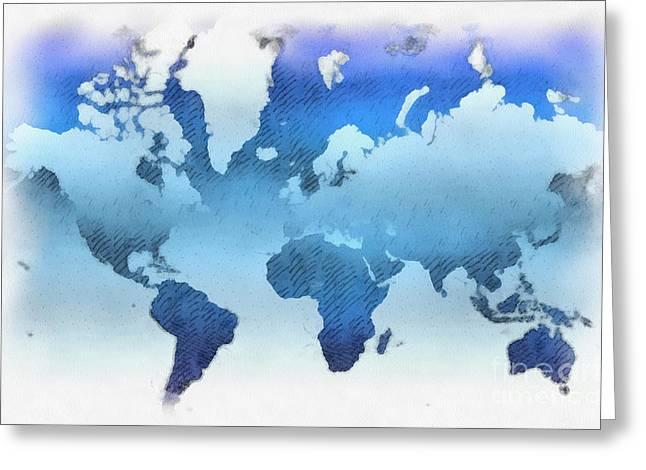 Planet Map Greeting Cards - World map artwork Greeting Card by Antony McAulay
