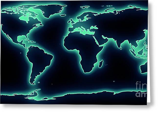 Atlas Greeting Cards - World Map Blue/Green Glow Greeting Card by Pixel Chimp