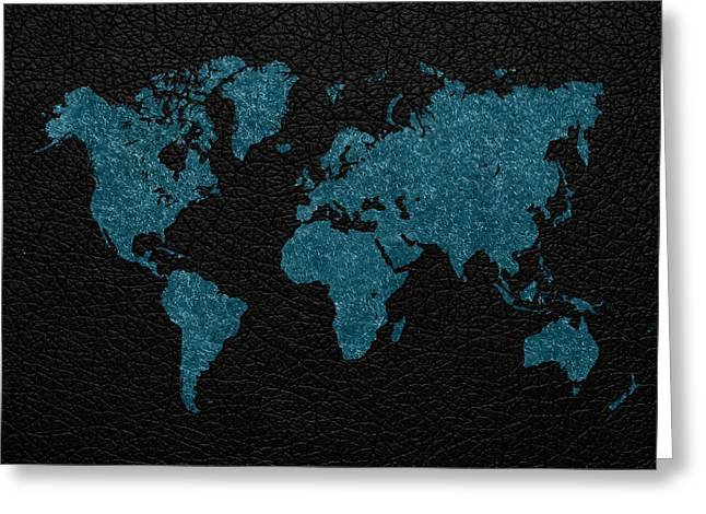 World Maps Mixed Media Greeting Cards - World Map Blue Vintage Fabric on Black Leather Greeting Card by Design Turnpike