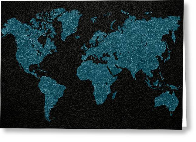 World Maps Mixed Media Greeting Cards - World Map Blue Vintage Fabric on Dark Leather Greeting Card by Design Turnpike