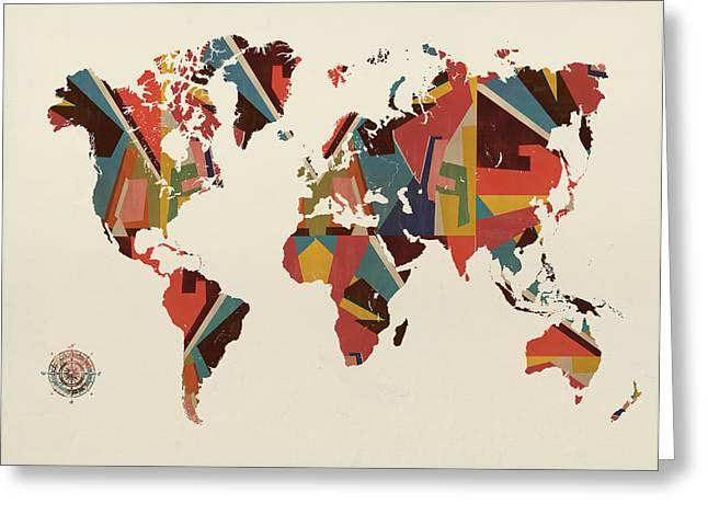 World Digital Map Greeting Cards - World Map  Greeting Card by Bri Buckley