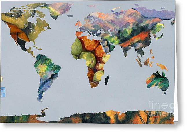 Victoire Greeting Cards - World Map Cezanne 1 Greeting Card by John Clark
